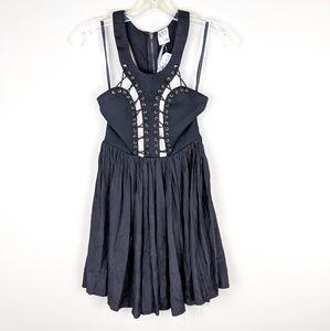 Angel Biba | Black Lace Up Mini Dress-H9